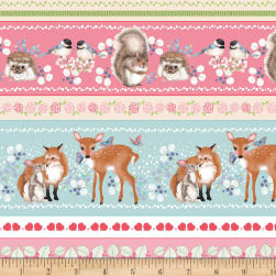 Forest Friends Stripe Pink Fabric