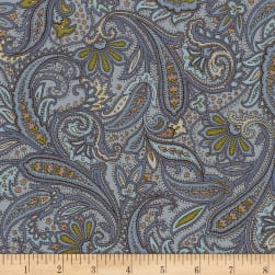 Hold Your Horses Paisley Blue Fabric