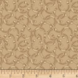 Hold Your Horses Tossed Horseshoe Brown Fabric