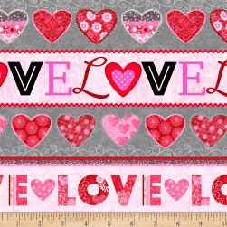Hearts of Love Novelty Stripe Pink/ Red