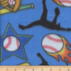 Fleece Print Softball Blue Fabric