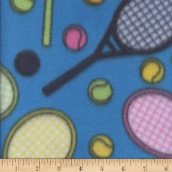Fleece Print Tennis Turquoise Fabric