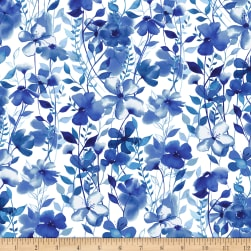 Nature Walk Indigo Large Wildflower Floral White