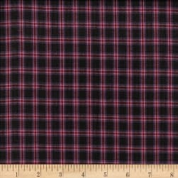 Rustic Woven Plaid Black/Pink/Wine Fabric