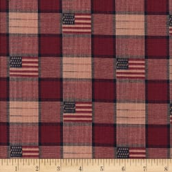 Old Glory Jacquard Flag/Check Yarn Dyed Navy/Wine Fabric