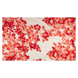 Large Watercolor Floral Chiffon White/Red-Orange Fabric