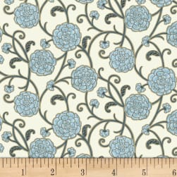 P&B Textiles Harmony With Nature Floral Metallic Blue