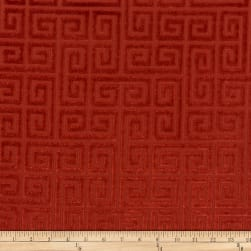Morgan Fabrics Velvet Greek Key Garnet Fabric