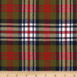 Windstar Twill Flannel Plaid Olive/Wine/Navy/Cream Fabric