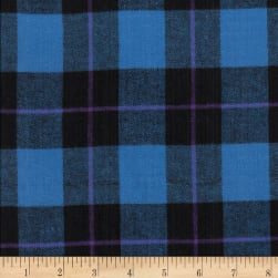 Windstar Twill Flannel Plaid Royal/Black/Purple Fabric