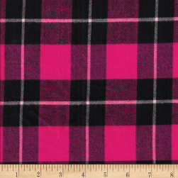 Windstar Twill Flannel Plaid Fuchsia/Black Fabric