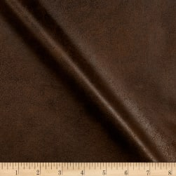 Fleece Backed Distressed Faux Leather Brandy Fabric