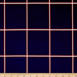 Double Brushed Poly Jersey Knit Plaid Navy Fabric