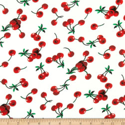 Double Brushed Poly Jersey Knit Cherries Ivory/Red Fabric