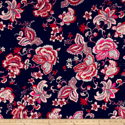 Double Brushed Poly Jersey Knit Paisley Floral Navy/Mauve