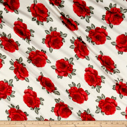 Double Brushed Poly Jersey Knit Roses Red/Ivory Fabric