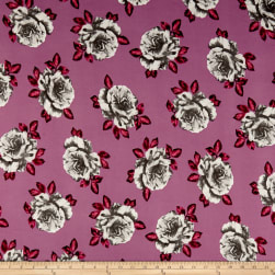 Double Brushed Poly Jersey Knit Roses Gray/Mauve Fabric