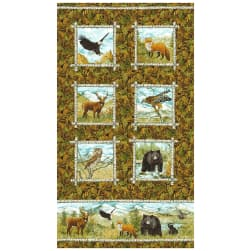 "Northcott Mountain Springs Flannel Animals Panel 24"" Green"