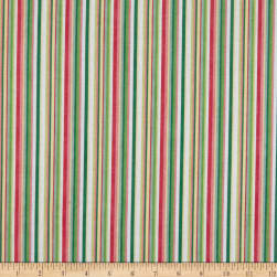 Northcott Blossoming Beauties Multi Color Stripe White/Multi