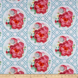 Northcott Blossoming Beauties Digital Medallion Blue/Multii Fabric
