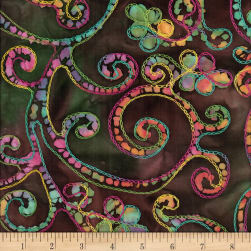 Bright Mosaic Embroidered Batik Scroll Brown/Green Fabric