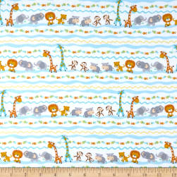 Timeless Treasures Flannel Ark Party Baby Animal Stripe