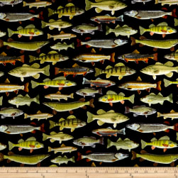 Timeless Treasures Flannel Gone Fishing Fish Black Fabric
