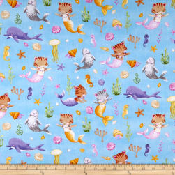 Timeless Treasures Meow-Maids Cat Mermaids Water Fabric