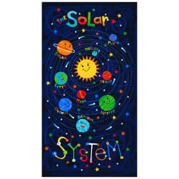 Timeless Treasures Solar Power 24'' Solar System Panel Blue Fabric