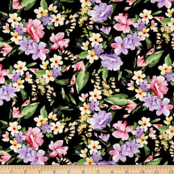Timeless Treasures Isabelle Allover Flowers Black Fabric