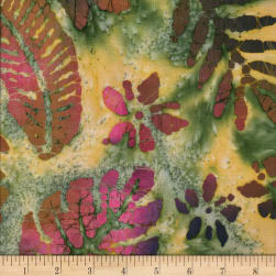 Leaf and Vine Batik Tropical Leaf Green/Orange/Wine Fabric