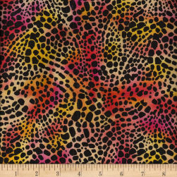 Tropical Forest Skin Print Orange/Pink/Yellow Fabric