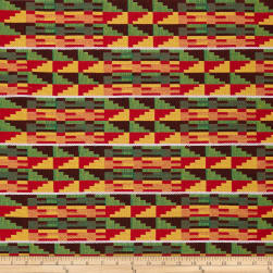 Ribbon Kente African Print 12 Yards Red/Yellow/Green