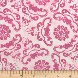 Banyan Batiks Darling Lace Swirl Flowers Pink Fabric