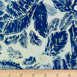Banyan Batiks Feathers Allover French Blue/Cream Fabric
