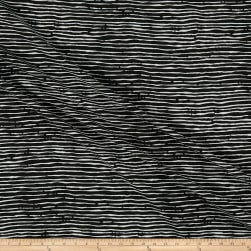 Pebble Crepe Stripe Print Black/White Fabric
