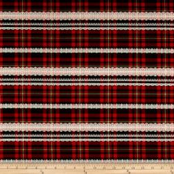 Kokka Gothic & Lolita Twill Plaid Red
