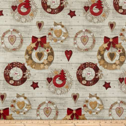 Stof Christmas Cannelle Ecru Fabric