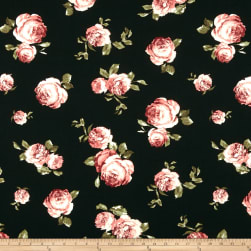 Liverpool Double Knit Floral Dusty Rose/Black Fabric