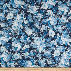 Kaufman Mayfield Large Flowers Indigo Fabric