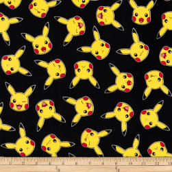 Kaufman Pokemon Pikachu Black Fabric