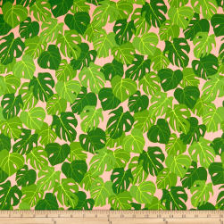 Kaufman Sunporch Leaves Coral Fabric
