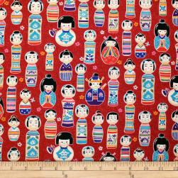 Trans-Pacific Textiles Oriental Kokeshi Dolls Red Fabric