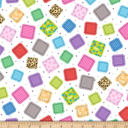 QT Fabrics Crazy For Crafting Patches White