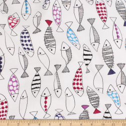 Telio Verona Cotton Rayon Voile Fish White Fabric