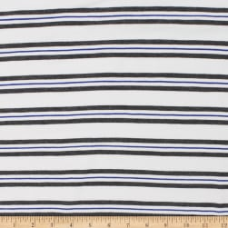 Telio Yarn Dye Stretch Bamboo Rayon Jersey Stripe White Grey Royal Fabric