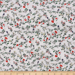 Telio Organic Stretch Cotton Jersey Floral Ecru Red Fabric