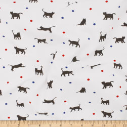Telio Organic Stretch Cotton Jersey Cat Ecru Grey Fabric