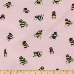 Telio Organic Stretch Cotton Jersey Busy Bee Pink Fabric