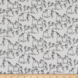 Telio Organic Stretch Cotton Jersey Bunny Ecru Blush Fabric